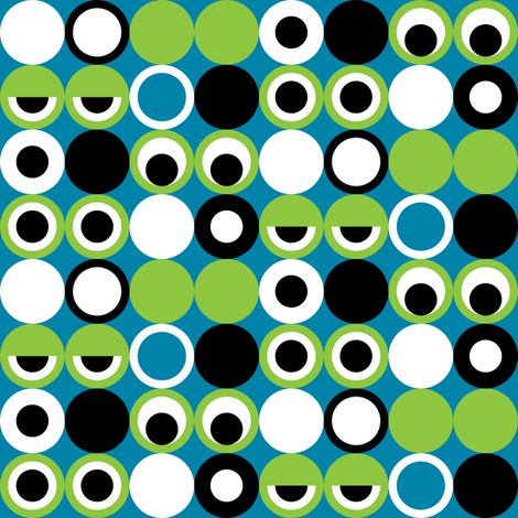 Geo Frog Eyes fabric by modgeek on Spoonflower - custom fabric