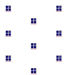 Modern Blue Square on White