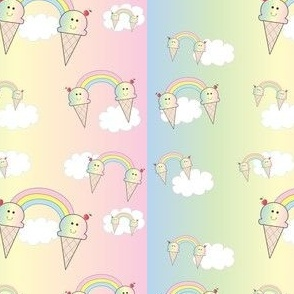 Rainbow Ice Cream in the Clouds