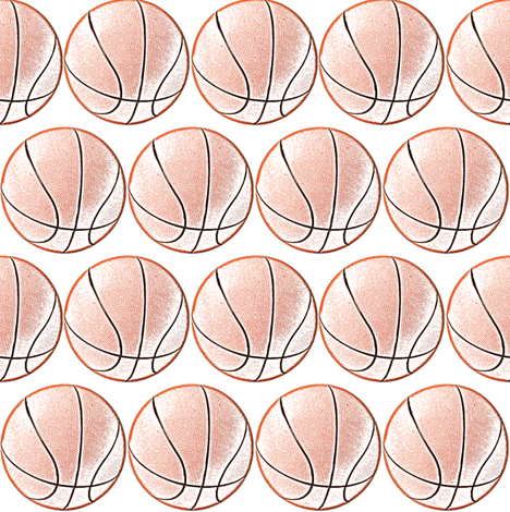 """Color_Ink_Drawing_B-Ball 2"""" fabric by dsa_designs on Spoonflower - custom fabric"""