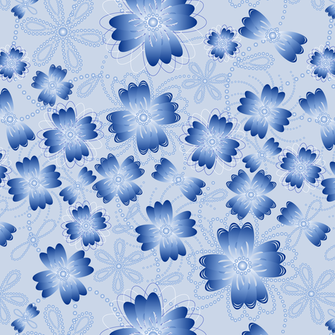 Azure Pearlblossoms (lt.) fabric by jjtrends on Spoonflower - custom fabric