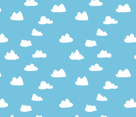 clouds // soft pastel baby blue clouds illustration pattern for baby nursery fabric by andrea_lauren on Spoonflower - custom fabric