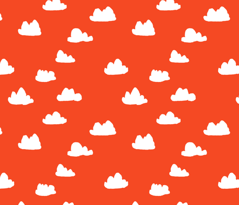 clouds // vermillion red orangey-red cloud design fabric by andrea_lauren on Spoonflower - custom fabric