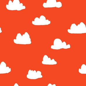 clouds // vermillion red orangey-red cloud design