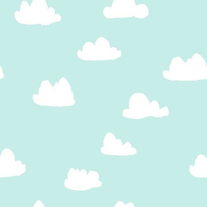 clouds // pale sky blue pastel baby nursery design