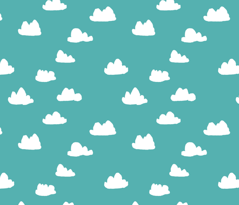 clouds // aqua sky blue clouds pattern illustration for boys or girls gender neutral bright nursery textile fabric by andrea_lauren on Spoonflower - custom fabric