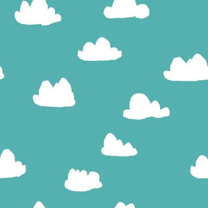 clouds // aqua sky blue clouds pattern illustration for boys or girls gender neutral bright nursery textile