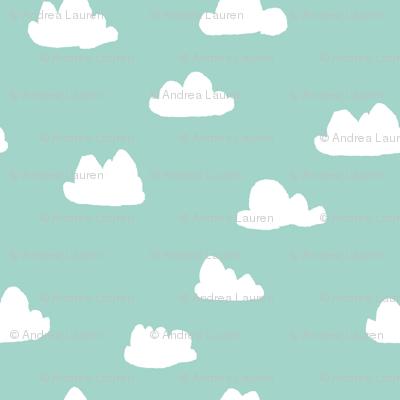 clouds // mint green pastel gender neutral fabrics