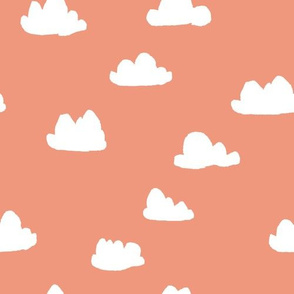 clouds // tea rose pastel coral peach clouds design for home decor textiles