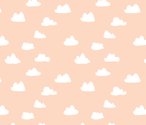 clouds // blush baby nursery girly nursery design for home decor fabric by andrea_lauren on Spoonflower - custom fabric