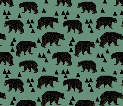 Geometric Bear - Viridian fabric by andrea_lauren on Spoonflower - custom fabric