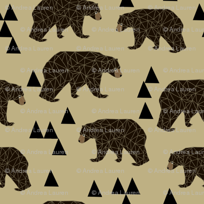 geometric bear // khaki woodland man trendy triangle bear design