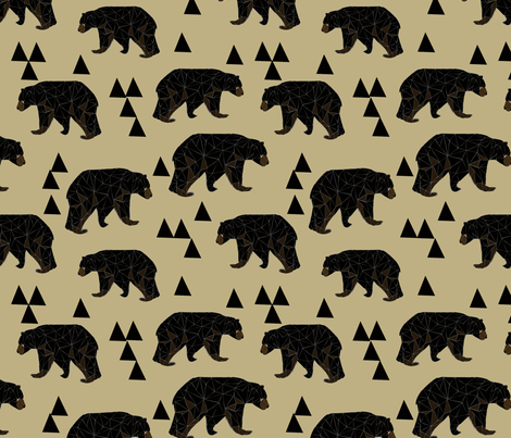 Geometric Bear - Dark Khaki fabric by andrea_lauren on Spoonflower - custom fabric