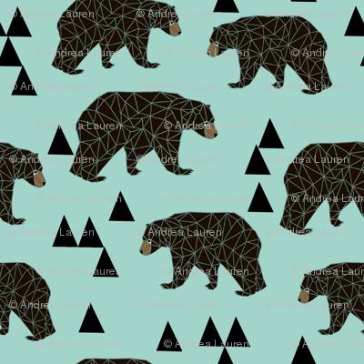 Geometric Bear - Pale Turquoise