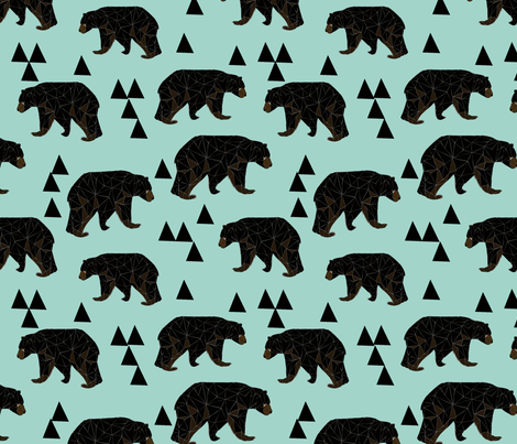 geometric bear // mint gender neutral cool scandi kids design featuring woodland bear and triangles fabric by andrea_lauren on Spoonflower - custom fabric