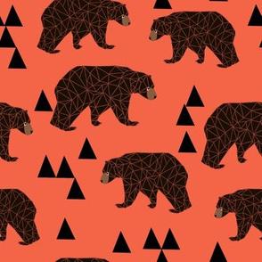Geometric Bear - Coral
