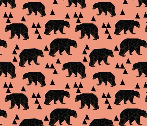 Geometric Bear - Tea Rose fabric by andrea_lauren on Spoonflower - custom fabric