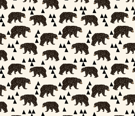 Geometric Bear - Cream  fabric by andrea_lauren on Spoonflower - custom fabric
