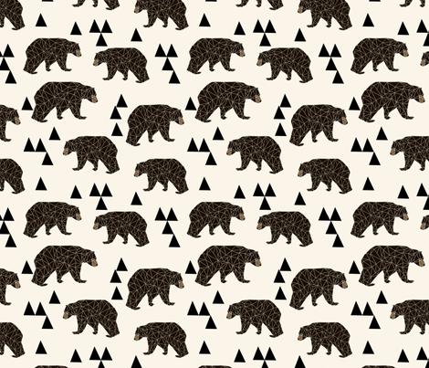 geo bear // cream geo trendy hipster bear woodland kids nursery baby design fabric by andrea_lauren on Spoonflower - custom fabric