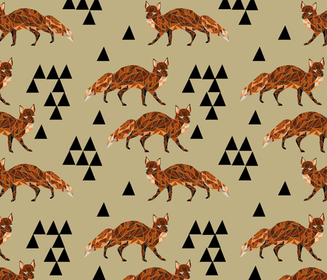 Geometric Fox - Dark Khaki fabric by andrea_lauren on Spoonflower - custom fabric