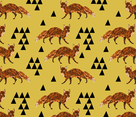 Geometric Fox - Mustard fabric by andrea_lauren on Spoonflower - custom fabric