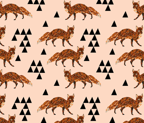 Geometric Fox - Blush fabric by andrea_lauren on Spoonflower - custom fabric