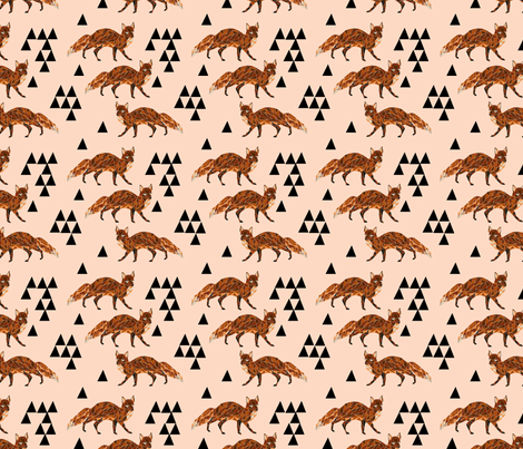 fox // blush nursery kids triangle baby fox woodland geo fox  fabric by andrea_lauren on Spoonflower - custom fabric