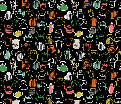 Teapots - Kitchen Series by Andrea Lauren fabric by andrea_lauren on Spoonflower - custom fabric
