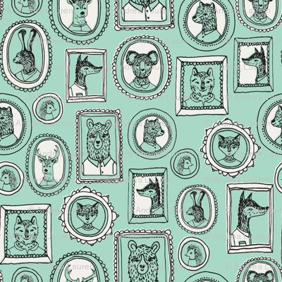 animal frames // woodland portrait mint cute woodland nursery baby quilt baby bedding crib sheet sweet animals