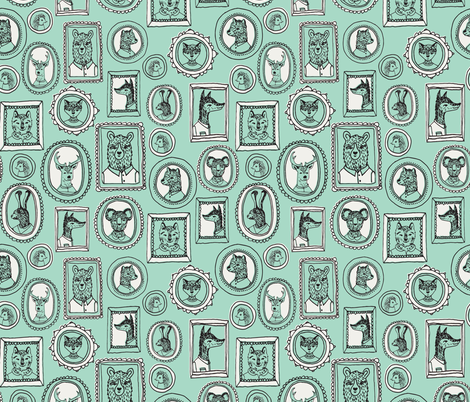 Animal Frames - Cambridge Blue/Light Grey fabric by andrea_lauren on Spoonflower - custom fabric