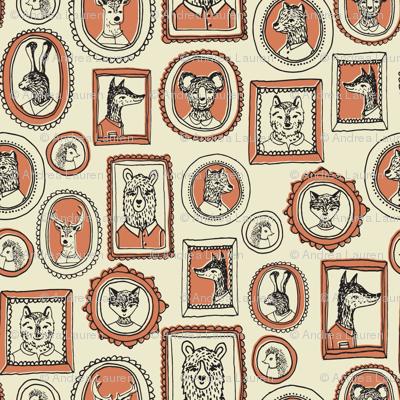 animal woodland frames // hand-drawn illustrationb ear fox raccoon sweet outdoors camping woodland illustration for baby nursery
