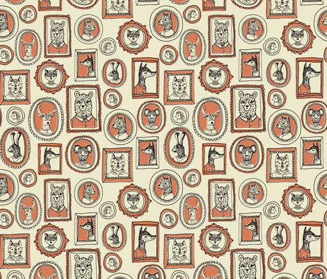 Animal Frames - Medium Khaki/Tea Rose fabric by andrea_lauren on Spoonflower - custom fabric