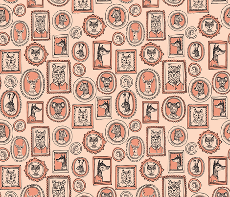 woodland animal portraits // blush pale peach sweet animals for girls nursery baby girl sweet baby quilt fabric by andrea_lauren on Spoonflower - custom fabric