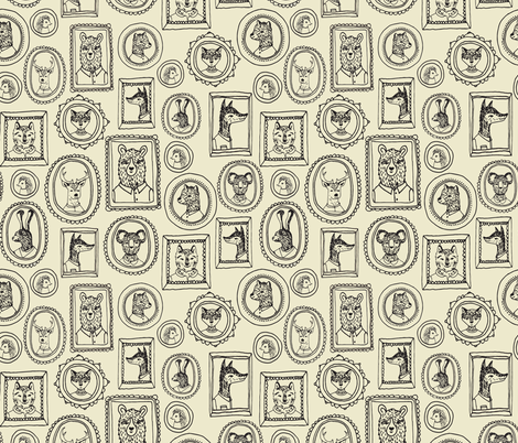 Animal Frames - Medium Khaki fabric by andrea_lauren on Spoonflower - custom fabric