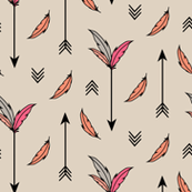 Arrows & Feathers Pink (Large)