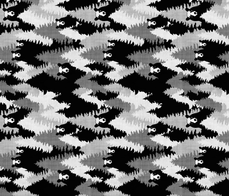 Bear Camo Black & White (vertical) fabric by kimsa on Spoonflower - custom fabric