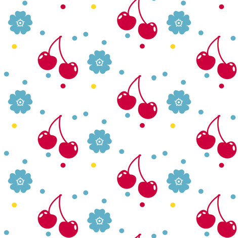 Cherry Flower Dots! - Sweet Birds of Summer - Summer Party - © PinkSodaPop 4ComputerHeaven.com fabric by pinksodapop on Spoonflower - custom fabric