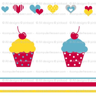 Cupcakes & Stripes Love! - Sweet Birds of Summer - Summer Party - © PinkSodaPop 4ComputerHeaven.com