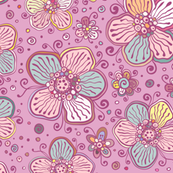 Vintage colors flowers pattern