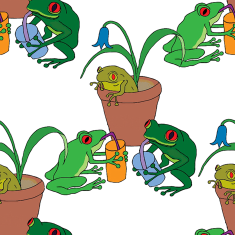 frog party fabric by linsart on Spoonflower - custom fabric