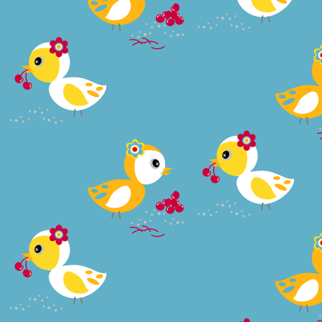 Cherry Birdy Love! - Sweet Birds of Summer - Summer Party - © PinkSodaPop 4ComputerHeaven.com fabric by pinksodapop on Spoonflower - custom fabric