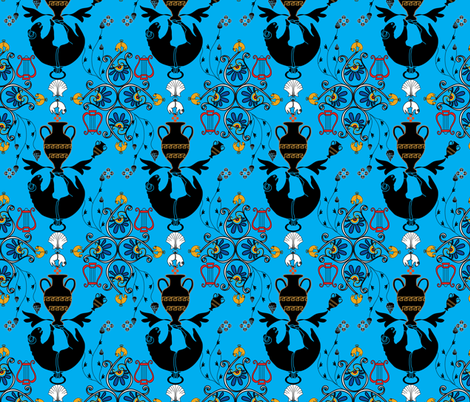 Greek Myth Blue BT Smaller Pattern fabric by baleandtwine on Spoonflower - custom fabric