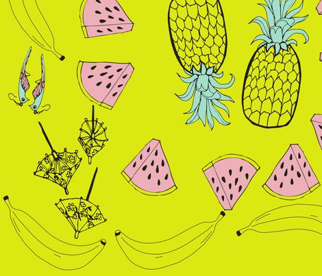 pineapples scarf (yellow) fabric by hotdogjenny on Spoonflower - custom fabric