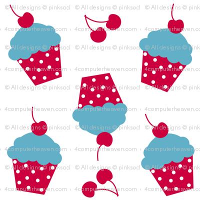 Cherry Raspberry Cupcakes! - Sweet Birds of Summer - Summer Party - © PinkSodaPop 4ComputerHeaven.com