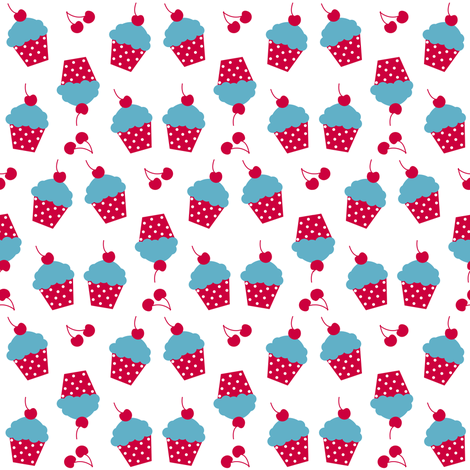 Cherry Raspberry Cupcakes! - Sweet Birds of Summer - Summer Party - © PinkSodaPop 4ComputerHeaven.com fabric by pinksodapop on Spoonflower - custom fabric