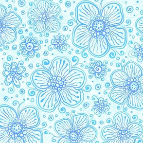 Blue doodle flowers pattern