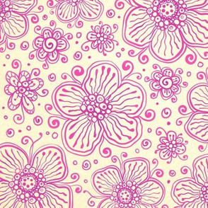 Pink ornate flowers