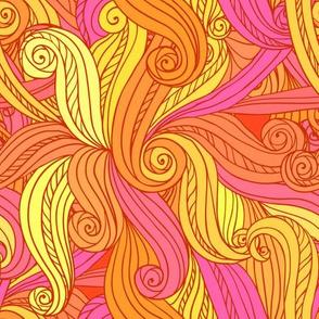 Orange curls seamless pattern
