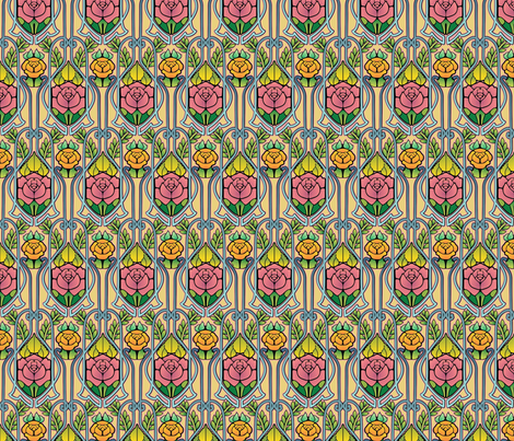 Art Nouveau roses pattern fabric by hannafate on Spoonflower - custom fabric