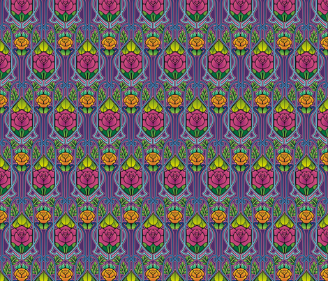 Art Nouveau roses, purple fabric by hannafate on Spoonflower - custom fabric